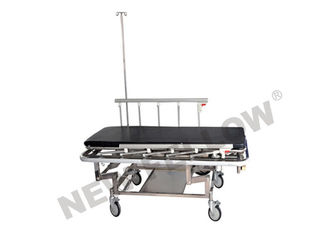 China Hospital 3 Crank Stainless Steel Patient Transfer Stretcher Trolley Medical Instrument supplier